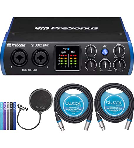 - PreSonus Studio 24c USB-C Audio Interface Bundle with Studio One Artist Software, Studio Magic Plug-In Suite, Blucoil 2-Pack of 10-FT Balanced XLR Cables, Pop Filter Windscreen, and 5x Cable Ties