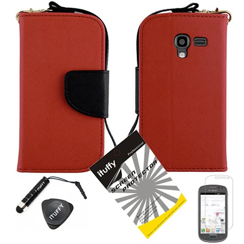 3 items Combo: ITUFFY (TM) LCD Screen Protector Film + Mini Stylus Pen + Leather Wallet & ID Card Case with lanyard for (MetroPcs/ T-Mobile) Samsung Galaxy Exhibit (2013) / T599 / SGH-T599 (Not Compatible with Exhibit 2 II) (Red / Black) (Exhibit Wallet Phone Samsung)