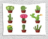 Cactus Tapestry by Ambesonne, Digitally Composed Barrel Echino Chin Hedge Cephalocereus Cactus Varieties Cartoon, Wall Hanging for Bedroom Living Room Dorm, 80 W X 60 L Inches, Multicolor
