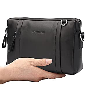 BISON DENIM Mens Genuine Leather Clutch Purse Wallet Handbag with Removable Shoulder Strap