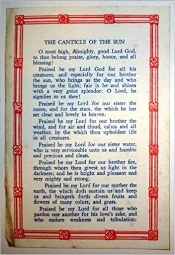 The Canticle Of Sun Roman Catholic Prayer Card Holy Amazon Books