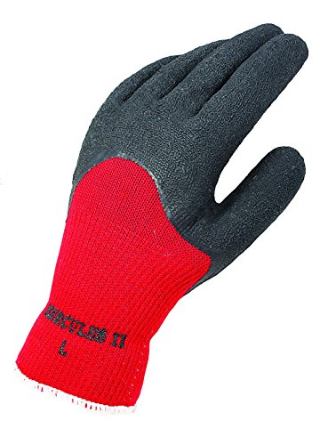 Galeton 6875-L 6875 Hercules II Soft and Pliable Latex Blend 3/4 Coated String Knit Gloves, Large, Red/Black, (Pack of 12)