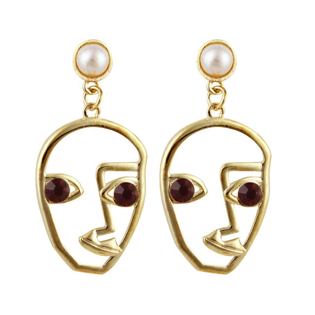 Trend Abstract Art Drop Earrings Gold Color Hand Palm Face Crystal Dangle Earrings Girls Fashion Statement Earrings For Women