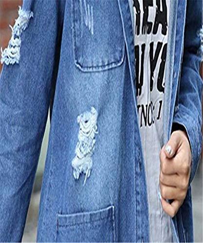 Strappato Multi Autunno Blu Ragazze tasca Relaxed Streetwear Eleganti Style Casual Maniche Festa Fashion Lunghe Jeans Cappotto Con Giacca Bavero Lunga Fidanzato Donna Giacche EqxHA7w