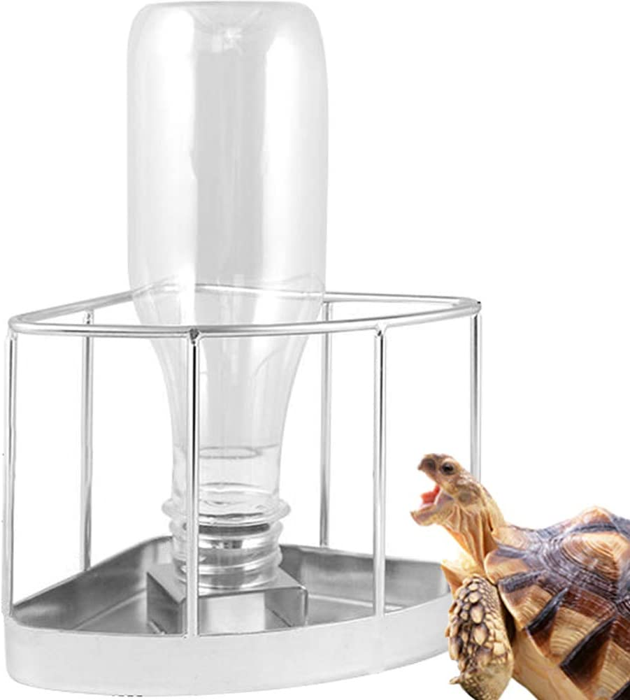 MOCOHANA Reptile Water Bottle Stainless Steel Turtle Automatic Feeders Waterer Pet Dispenser Bottle Corner Food and Water Feeding Dish Bowl for Lizard Tortoise Chameleon