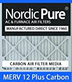 Nordic Pure 12x12x1M12+C-6 MERV 12 Plus Carbon AC Furnace Air Filters, Qty-6
