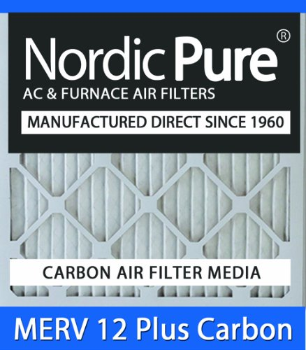 Nordic Pure 24x24x4M12+C-1 MERV 12 Plus Carbon AC Furnace Air Filters, Qty-1