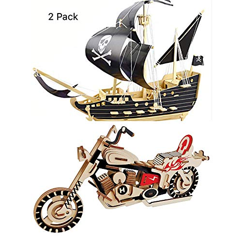 Pirate Ship Jigsaw - Pirate Ship Puzzle and Motorcycle Puzzles Wooden Puzzles Building Blocks Toys DIY Stereo Model Diagram Creative Assembled Educational Toy for Kids and Adults
