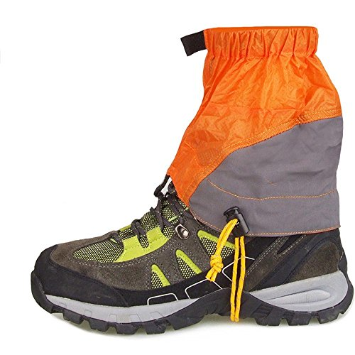 1 Pair Outdoor Gaiters Silicon Coated Nylon Waterproof Ultralight Gaiters Leg protection Guard Tear-resistant - Orange by New Brand