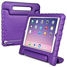 iPad Air kids case, COOPER DYNAMO Heavy Duty Children's Rugged Tough Bumper Hard Protective Case Cover with Built-in Handle, Stand & Free Screen Protector for Apple iPad Air (Purple)