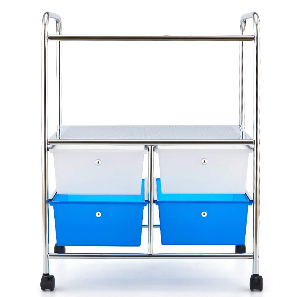 3 Tier Storage Cart, EZOWare Multifunction Organizer Standing Shelf Utility Rolling Cart with Handles and 4 Storage Drawers for Bathroom Kitchen Pantry Office Salon Spa