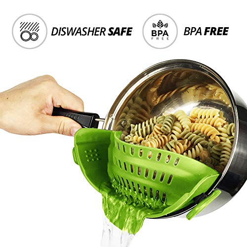 Telfer Snap and Strain Clip On Silicone Snap Strainer & Colander, Fits all Pots and Bowls (Lime Green)