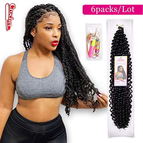 6Pcs Passion Twist Natural Black Synthetic Hair for Black Women Andromeda 18 Inch Soft Long Braids Passion Twist Crochet Braiding Hair Extensions with 5 Free Gift (1B) (Best Hair To Use For Rope Twist)