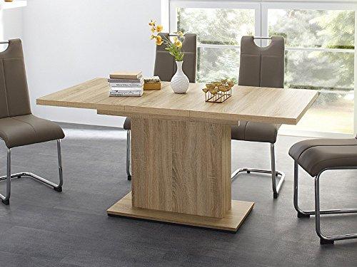Esstisch Patrick 120(160)x80x76cm Eiche sägerau Säulentisch ausziehbar, Eckbanktisch Küchentisch