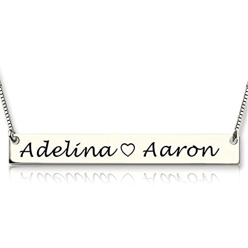 aa009b656e624 Amazon.com: Personalized Name Necklace Bar Necklace Jewelry Custom ...