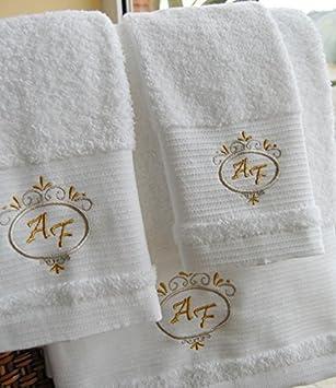 Calidad Superior personalizado juego de toallas de baño - Deluxe - Juego de 3 piezas - Hoja de baño, toalla de mano, toalla de invitados: Amazon.es: Hogar