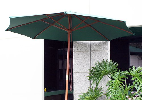 New Deluxe Patio Garden 13' FT Outdoor Patio Wooden Umbrella with Air Vent Green