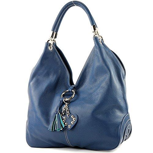 Made Italy - Bolso al hombro de cuero para mujer azul genciana