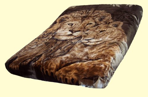 Korean Solaron Super Thick Heavy Weight Ultra Silky Soft Mink Heavy Duty Reversible Blanket bed comforters bedspreads bedding comforter King or Queen(King, 226 Lions BROWN)