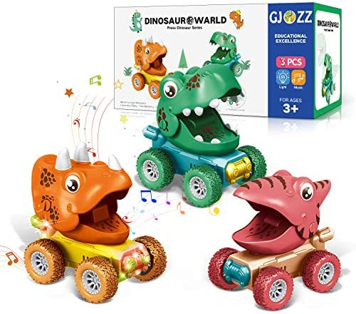 Dinosaur Toys for 2-5 Year Old Boys, Flashing Lights and Dino Roar Music Toys for 3 Year Old Boy, 3pcs Dinosaurs Pull Back Cars, Monster Trucks Christmas Birthday Gifts for Kids Age 2,4,5 – Colorful