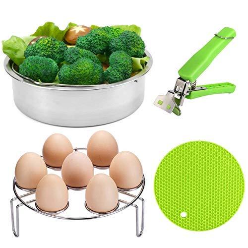 VERONES Pot Accessories, Steamer Basket Set for Pot Accessories with Egg Steamer Rack - Pot Holder - Multi-Purpose Hot Pads - Fits Pot 5 6 8 qt Pressure Cooker.
