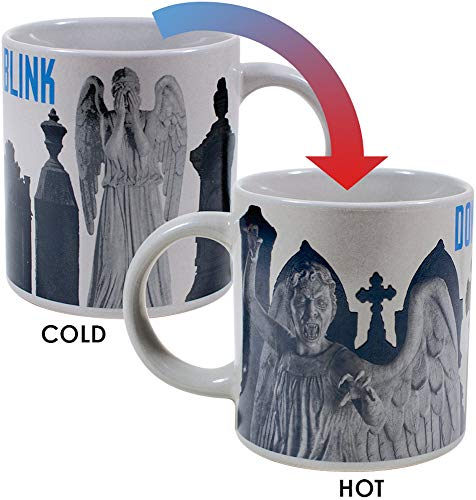 Doctor Who - Weeping Angel Heat Changing Coffee Mug - Add Hot Liquid and Watch the Stone Angels Come to Life - Comes in a Fun Gift Box - by - Angel Ceramic Mug Travel