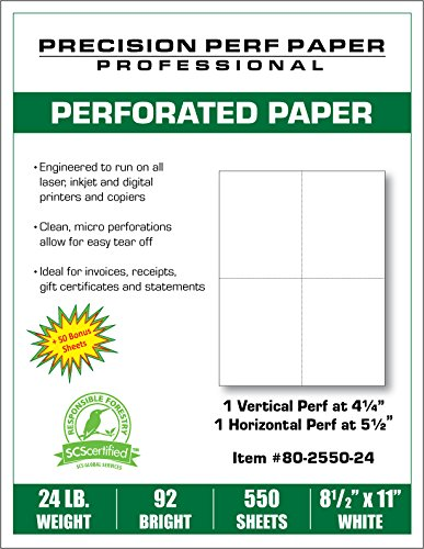 Blank Perforated Paper, 8.5 x 11, 24 lb Paper, 4 UP Per Page Perforated Paper, Pack of 550 Sheets