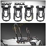 WIN-2X 4pcs (2 Sets) Black Iron Steel Foldable J-Bar Style Roof Cross-Bar-Mounted Kayak Racks + Stern Lines + Mounting Hardware