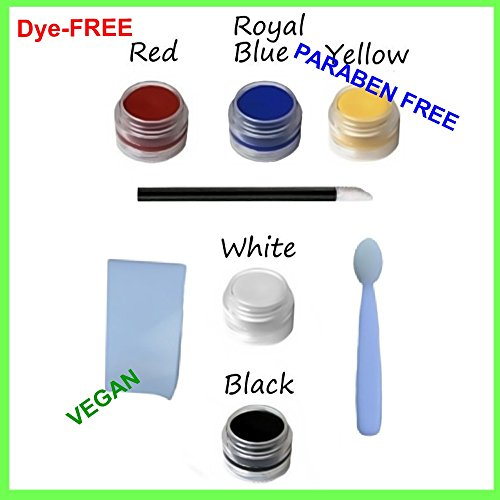 8pc Natural & Organic Face Paint Set (Vampire Goth Clown) DYE-free VEGAN Costume Makeup Kit