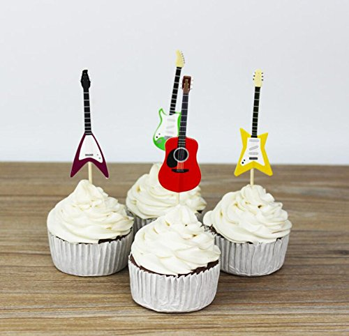 Yunko Set of 24 Cake Cupcake Decorative Cupcake Topper for Kids Birthday Party Themed Party Baby Shower (Guitar)