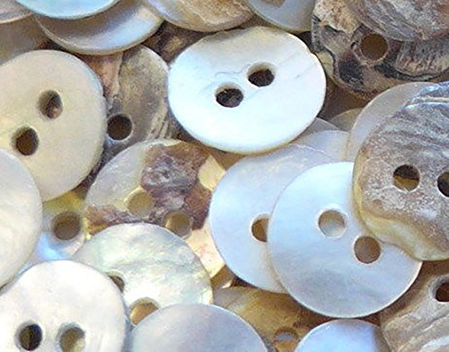 "Fancy & Decorative {8mm w/ 2 Holes} 100 Pack of Small Size Round ""Flat"" Sewing & Craft Buttons Made of Genuine Shell w/ Elegant Oceanic Natural Simple Seashell Design {White & Gray Colors}"