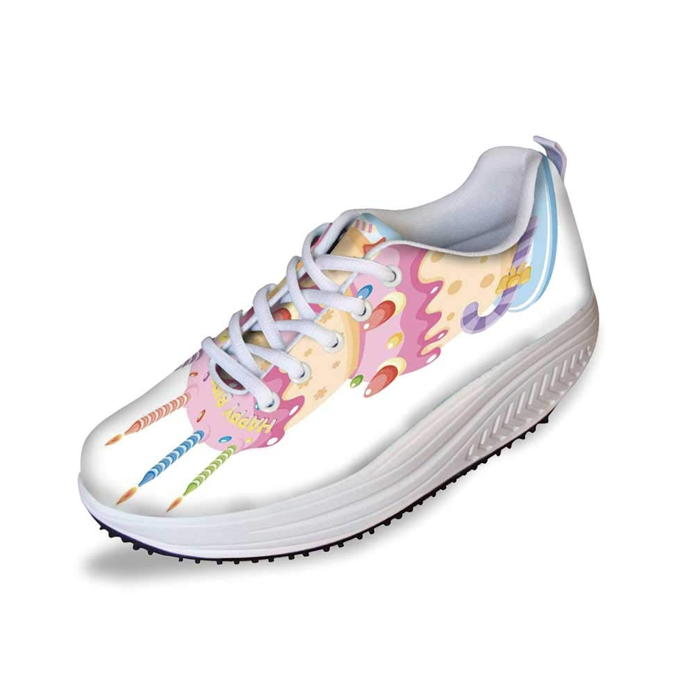 Birthday Decorations for Kids Stylish Shake Shoes,Pastel Colored Birthday Party Cake with Candles and Candies for Women,7