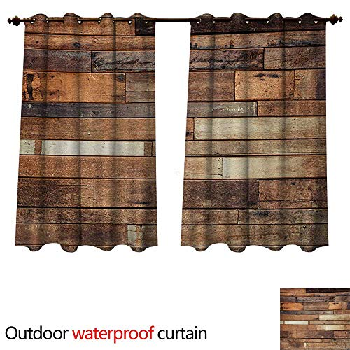 WilliamsDecor Wooden Outdoor Ultraviolet Protective Curtains Rustic Floor Planks Print Grungy Look Farm House Country Style Walnut Oak Grain Image W120 x L72(305cm x 183cm)