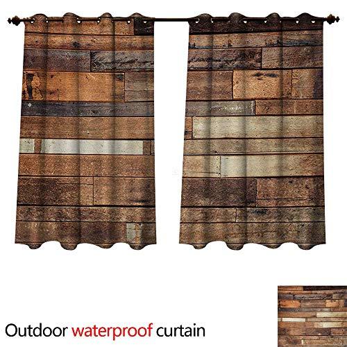 (WilliamsDecor Wooden 0utdoor Curtains for Patio Waterproof Rustic Floor Planks Print Grungy Look Farm House Country Style Walnut Oak Grain Image W96 x L72(245cm x 183cm))