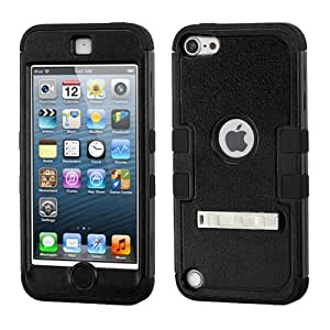 Dual Layer Plastic Silicone Tuff Black Hard Cover Snap On Case W/ Chrome Kickstand For Apple Touch 5 5th Generation (Accessorys4Less)