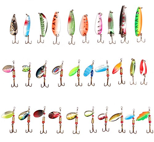30PCS Metal Fishing Lures with Treble Hooks by LotFancy - Assorted Inline Spinner Baits & Spoons for Bass Salmon Trout (Spinner Spoon)