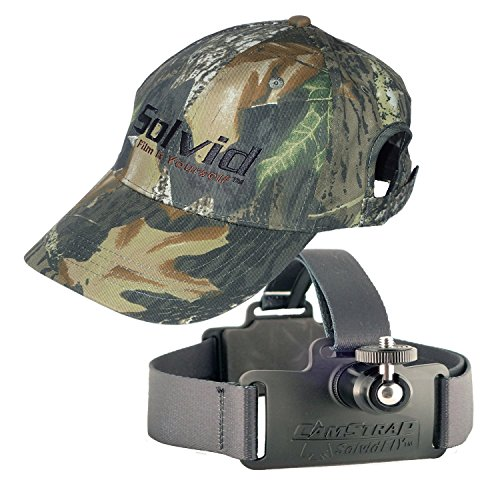 - Solvid Premium Universal Head Cam Mount for Any Camera (Black Strap Hat Hardwoods Combo)