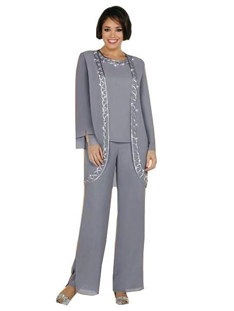 Amazon.com: kelaixiang vestir gris madre de la novia vestido ...