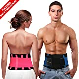Back Brace Support Belt | Back Support for Men & Women with Adjustable Straps | Provides Back Pain Relief, Sciatica Relief, Lumbar Support & Improved Posture by PLYO-TEC (Pink, XXL)