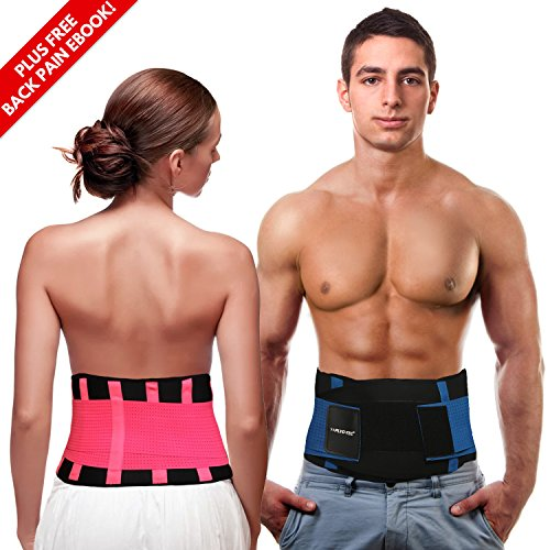 Back Brace Support Belt - Back Support for Men & Women with Adjustable Straps – Provides Back Pain Relief, Sciatica Relief and Lumbar Support – by PLYO-TEC (Blue, S)