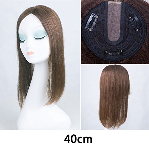 Remeehi Straight Human Hair Toppers Toupee for Women Middle Part Top Closure Hairpieces (40cm Light Brown)