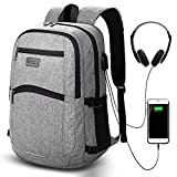 Laptop Backpack, Slim Lightweight School Bag for Boys Girls, Anti-theft 15.6-inch Business Travel Work Computer Rucksack for Men Women, Grey