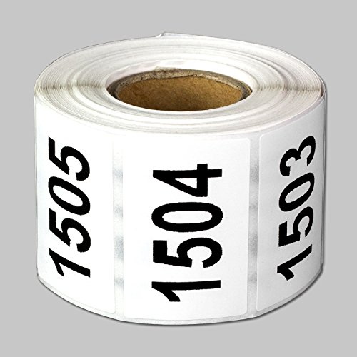 "Consecutive Number Labels Self Adhesive Stickers ""1501 to 2000"" (White Black / 1.5"" x 1"") - 500 labels per package"