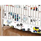 SheetWorld - Crib Skirt (28 x 52) - Fun Race Cars - Made In USA