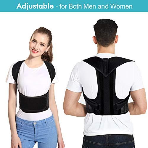 Back Brace Posture Corrector with Adjustable Soft Elastic Shoulder Straps to Improves Posture and Provides Lumbar Support, Full Back Support Belts, Men WomenBack Brace Posture Corrector with Adjustabl