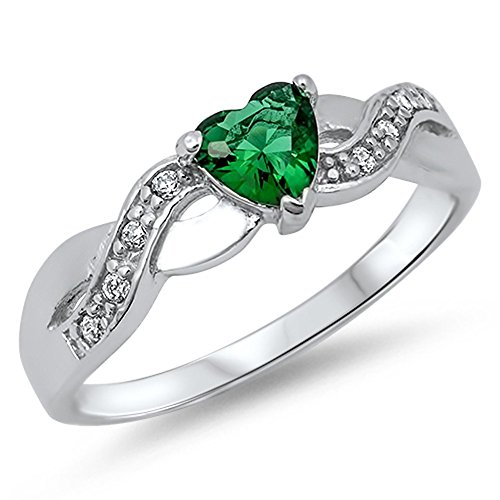 (Heart Simulated Emerald Infinity Knot Promise Ring .925 Sterling Silver Band Size 10)