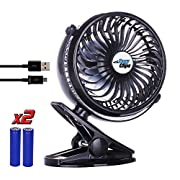 Clip on Fan, Battery Operated Portable Baby Stroller Fan [BONUS BATTERY], For Desk Office, or Bedside, USB Rechargeable Fan, 360° -Black
