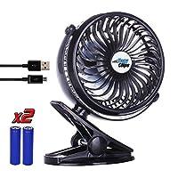Clip on Fan, Battery Operated Portable Baby Stroller Fan [BONUS BATTERY], For...