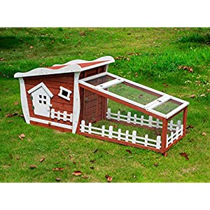 Good Life Wooden Easy Clean Rabbit Guinea Pig Cage Bunny Hutch – Outdoor Cute Fairytale Cartoon Style Pet House Coop 32