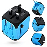 Adapter Travel Adapter All-in-one Worldwide Travel Chargers Adapters for US UK AU EU with Dual USB Charging Ports Universal AC Socket - Safety Fused(Blue)